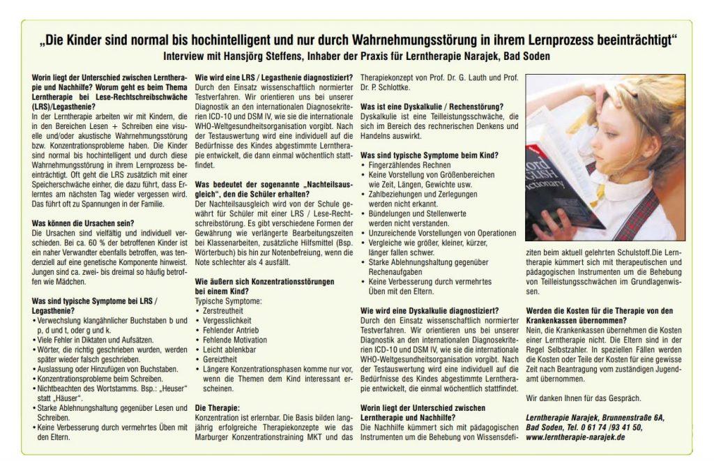 Lerntherapie Interview mit Bad Sodener Zeitung